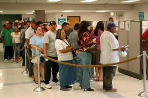 Unemployment line. PaUnemployment via Flickr