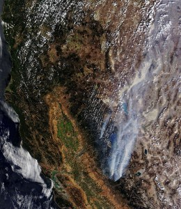 MODIS image of northern California and Nevada showing the Rim and American Fires, both sending plumes of smoke over to the Burning Man Festival, currently being held in the Black Rock Desert.