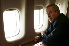 """George Bush in the infamous """"flyover"""" during hurricane Katrina."""