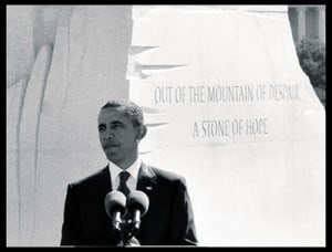 President Barack Obama speaks during the dedication of the Martin Luther King Jr. Memorial in Washington, Sunday, Oct. 16, 2011.