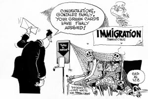 Stone Cold Immigrants, an OtherWords cartoon by Khalil Bendib