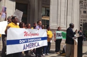 Demonstration at Walgreens store in Chicago led by Citizen Action/Illinois and National People's Action
