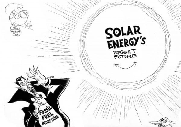 Sunny Future, an OtherWords cartoon by Khalil Bendib