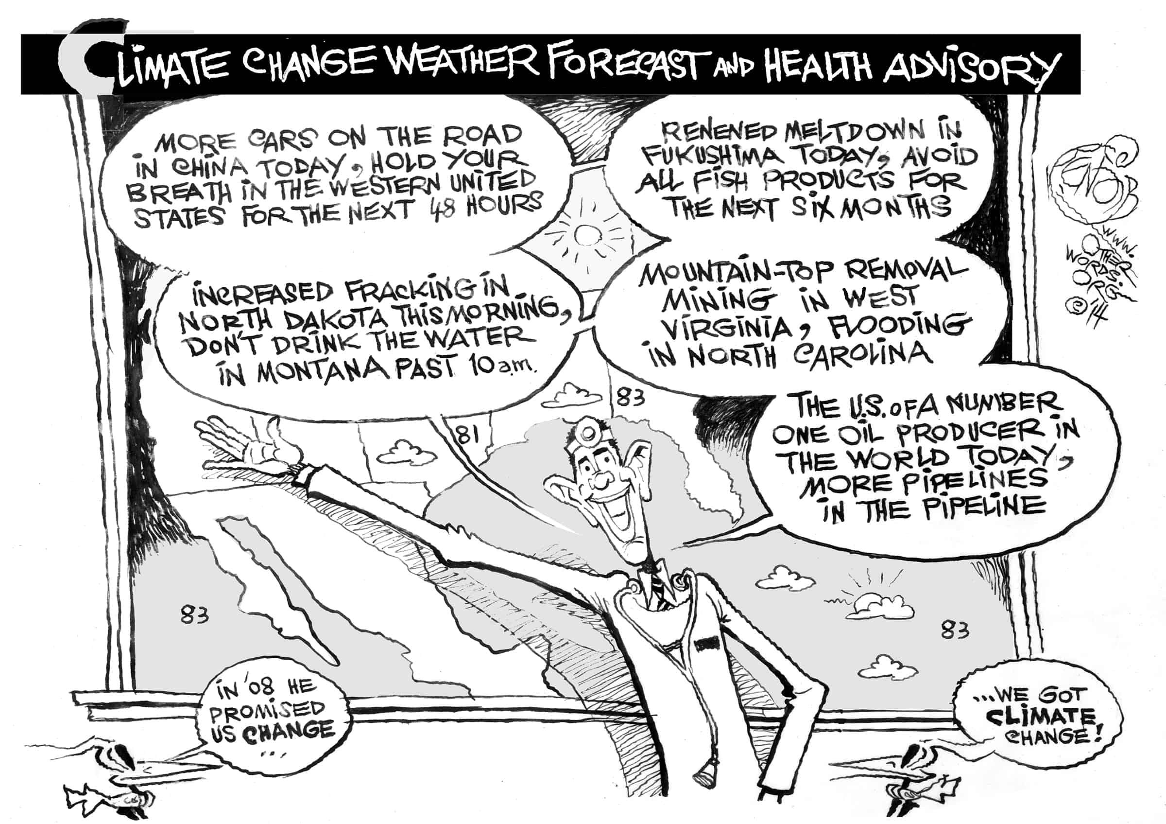 A Change in the Weather, an OtherWords cartoon by Khalil Bendib