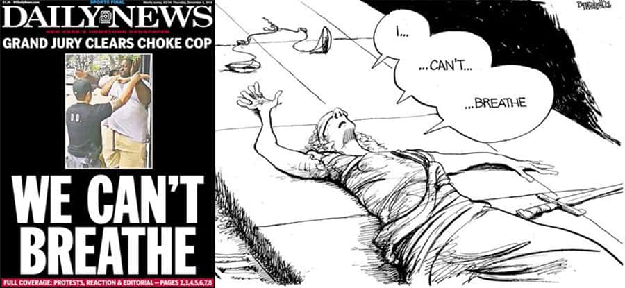 The New York Daily News front page and editorial cartoon reacting to the grand jury decision not to indict the police officer responsible for the death of Eric Garner.