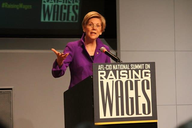 Photo of Sen. Elizabeth Warren at Raising Wages Summit by Ben Wikler on Flickr.