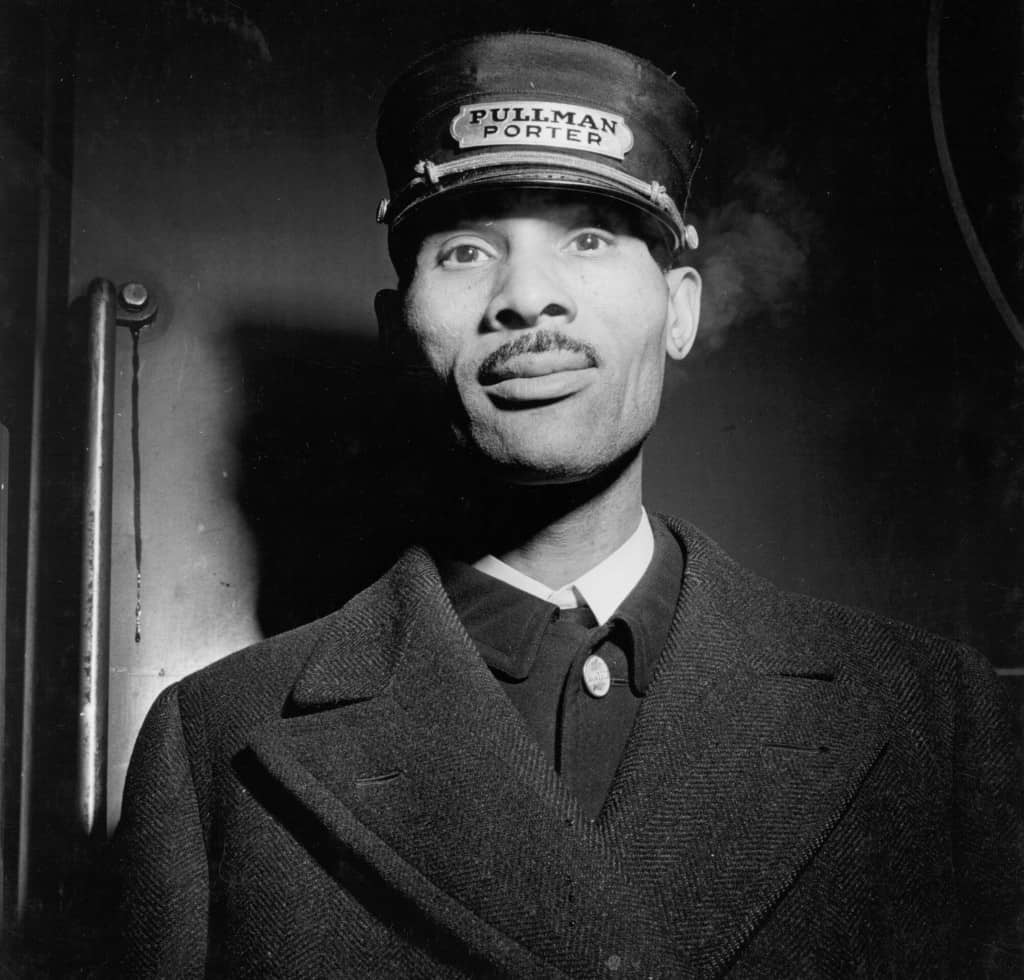 This 1943 image of a sleeping car porter employed by the Pullman Company was taken at Union Station in Chicago, Ill. by photographer Jack Delano. Courtesy U.S. Library of Congress.