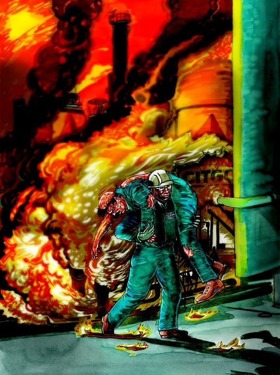 Artist rendering of USW member Charles Wharton carrying a critically injured co-worker to safety after the 2009 explosion at the CITGO refinery in Corpus Christi, Texas.  Art by Frederick H. Carlson of Carlson Studio.