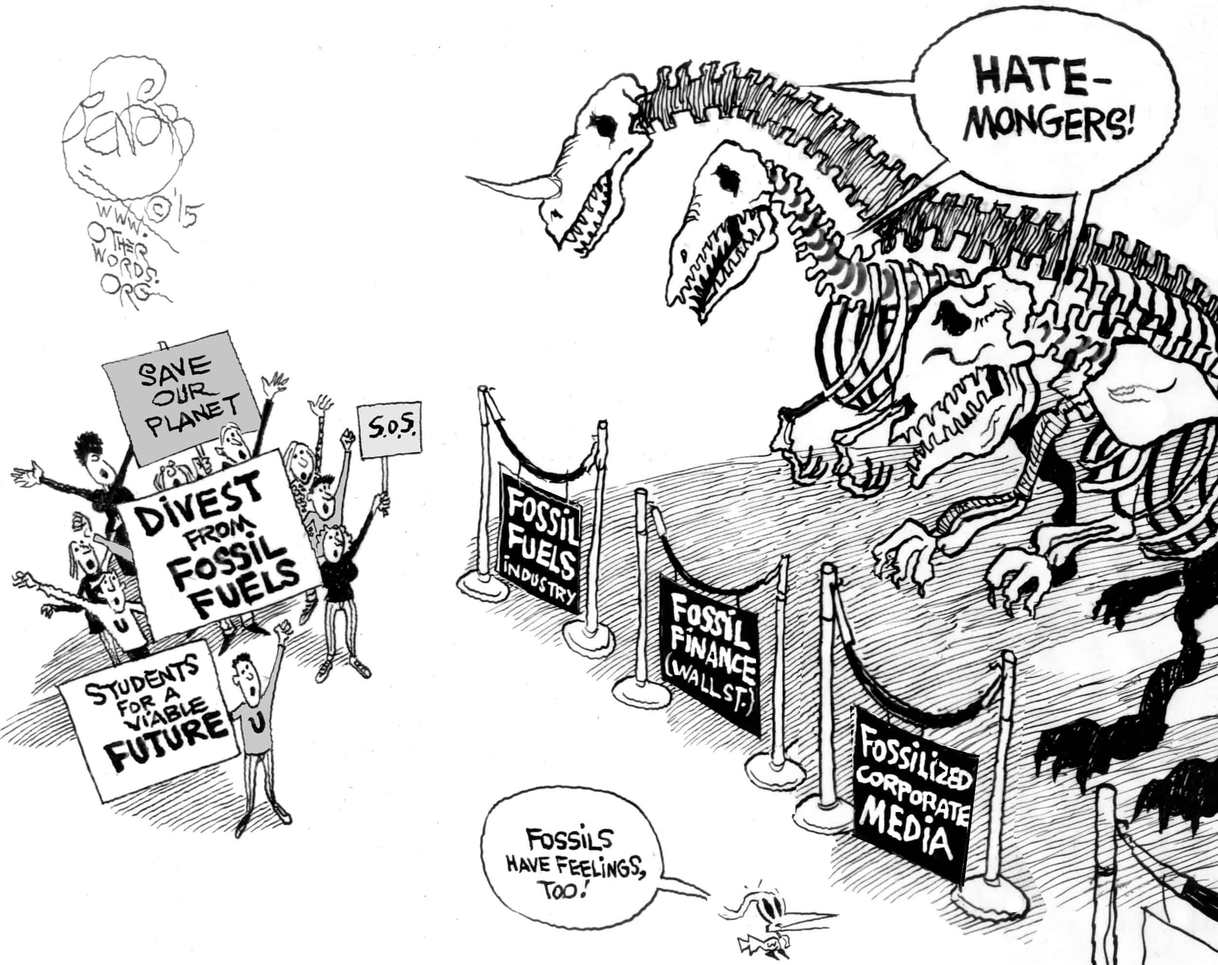 Fossil Fuel Extinction by Khalil Bendib @ OtherWords.