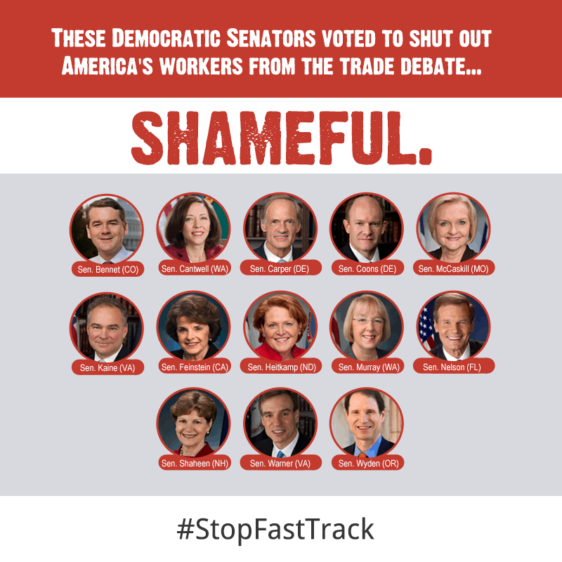 Democratic Senators voted to limit trade debate