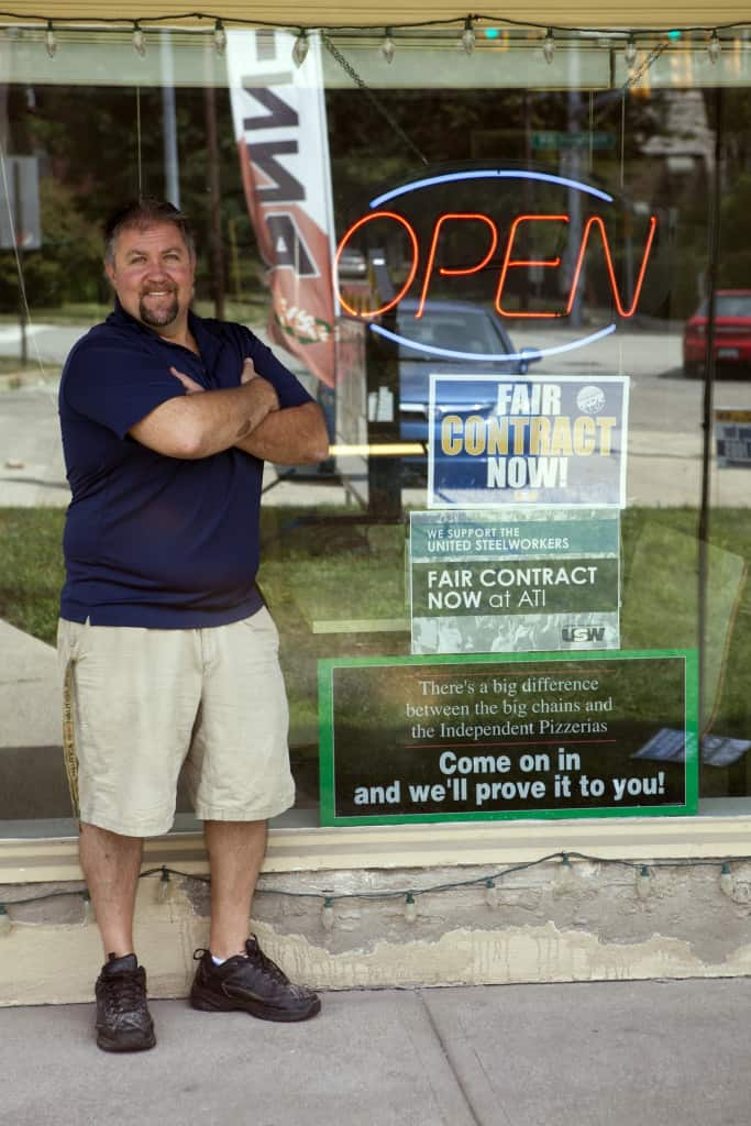 Matt Struhar at his Brackenridge pizza shop, Maddio's Pizza & Subs