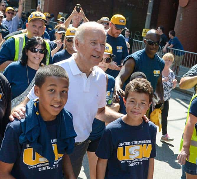 Vice President Joe Biden with union families at the 2015 Labor Day Parade in Pittsburgh