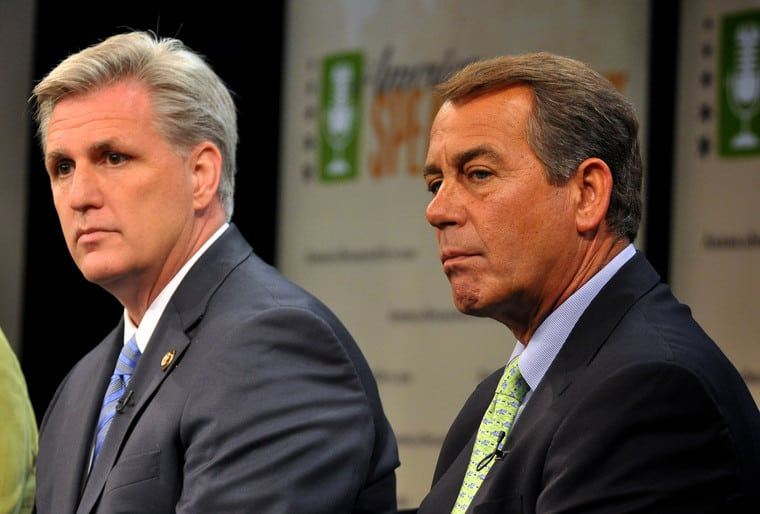 House Majority Leader Kevin McCarthy and Speaker John Boehner – both humbled by right-wing Republican rebels protected by gerrymandering. (CC) House GOP